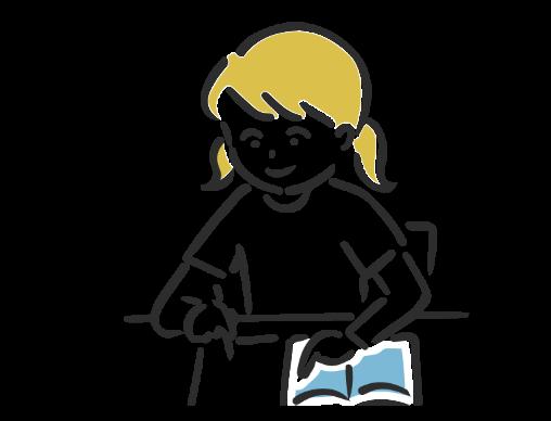 女の子が机に向かってノートに書いているイラスト