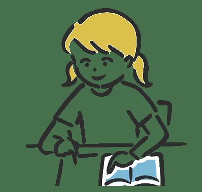 女の子が机に向かい、ノートに何かを書いているイラスト