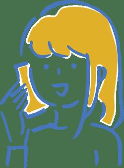 女の子が電話しているイラスト