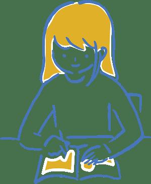 女の子が机に向かって勉強しているイラスト